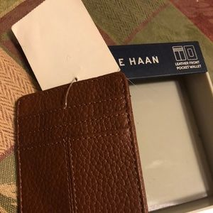 Cole Haan Brown Leather Front Pocket Wallet New